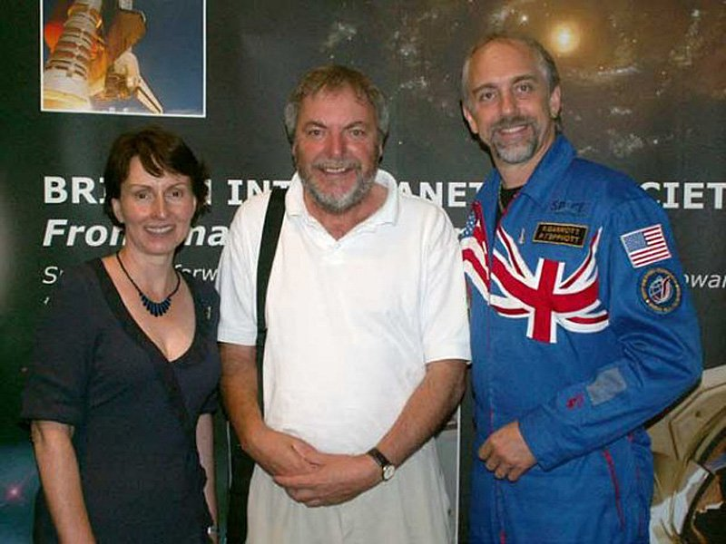 Paul Sutherland with Helen Sharman and Richard Garriott